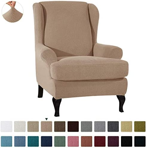Best CHUN YI 2-Piece Stretch Jacquard Wing Chair Cover, Wing Back Wingback Armchair Chair Slipcovers with