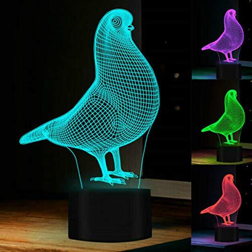 Preisvergleich Produktbild 3D Taube Nachtlampe 7 Farben ändern Touch Control LED Schreibtisch Tisch Nachtlicht mit bunten USB Powered für Kinder Kinder Familie Ferienhaus Dekoration Valentinstag Geschenk