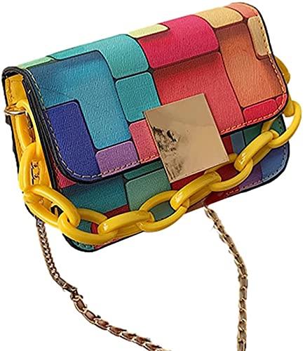 レトロビンテージレディースファッションバッグヒットカラーベルト装飾色ハンドバッグレディースショルダーバッグPVCファッションカラフルな落書きクラッチトート財布クロスボディが優れて (Color : Yellow)