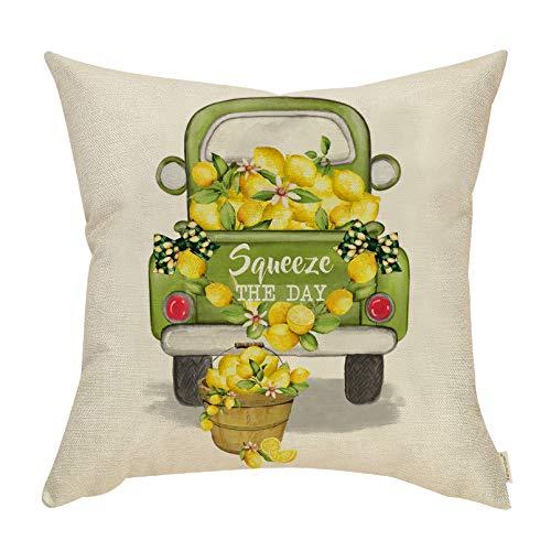 Fahrendom Summer Farmhouse Home Decor Vintage Truck Lemon Wreath Sign Dekorative Throw Pillow Cover Squeeze The Day Spring Holiday Decoration Cotton Linen Cushion Case Sofa Couch 45,7 x 45,7 cm