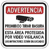 STOPSignsAndMore - Spanish Warning No Dumping Area Under Video Surveillance Sign - 12x12 - Reflective | Rust Free Aluminum
