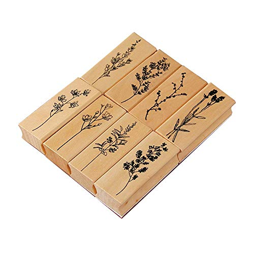 Juego de sellos de impresión de madera, 8 PCS Sello de goma de madera vintage, Sello para la Tarjeta del Arte de la decoración de DIY Que Hace Fuentes de Scrapbooking
