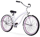 Firmstrong Bella Fashionista 3-Speed Beach Cruiser Bicycle, 26-Inch, White/Pink Rim