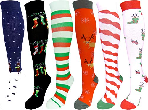 6 Pair Graduated Compression Socks for Men and Women (Christmas Set #2, Large/X-Large)