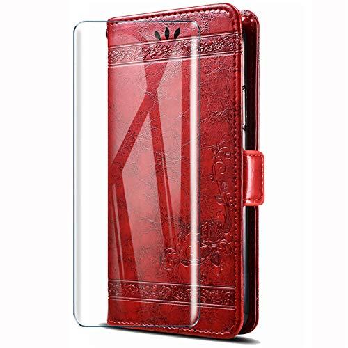 HYMY Hülle für Wiko View 3 Lite - Retro Elegant + Schutzfolie PU Leder Flip mit Brieftasche Card Slot Handyhülle Hülle Lederhülle für Wiko View3 Lite (6.09