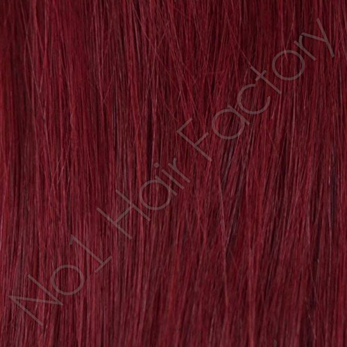 200 pré-collé ongles 1 G Remy Hair Extensions – Prune rouge magenta Rouge 530