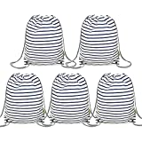 BeeGreen Blue Stripes Drawstring Backpack 5 Pack Machine Washable Drawstring Bags for Gym Travel Sports Shopping lightweight and Sturdy Beach Backpack for Unisex