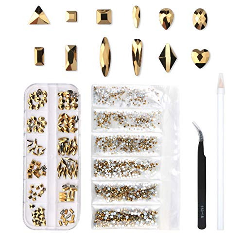 120 Pcs Multi Shapes Glass Crystal AB Rhinestones For Nail Art Craft, Mix 12 Style FlatBack Crystals 3D Decorations Flat Back Stones Gems Set (Gold,120 pcs Crystals+1728 pcs rhinestones)