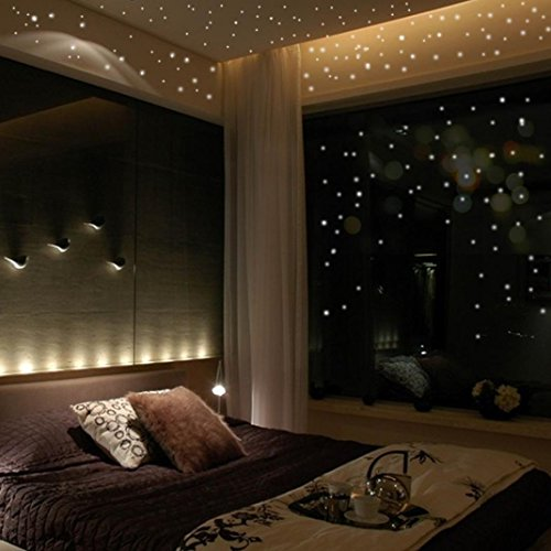 FENZL Glow In The Dark Star Wall Stickers 407Pcs Round Dot Luminous Kids Room Decor