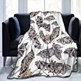 Luxury Flannel Fleece Throw, 50' x 40', Watercolor Scary Bat Collection Halloween Animal Painting Throw Blanket for Fall Camping, Air Conditioning Blanket and Warm Lightweight