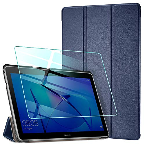 AROYI Hülle für Huawei Mediapad T3 10 + Panzerglas, Ultra Schlank Schutzhülle Hochwertiges PU mit Standfunktion Glas Panzerfolie für Huawei Mediapad T3 10 (9,6 Zoll), Dunkleblau