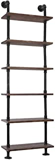 RANZHIX 3/6 Layer Wall Book Shelf Rustic Industrial Pipe Shelf Durable Steel Bookcases Furniture Wall Mount Hung Bracket DIY Book Storage&Display Shelving Bookshelf