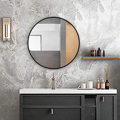 HF Home Feeling Premium Spiegel Rund - vielseitig Einsetzbar Dank schönem Design - Eleganter runder Spiegel mit einfache Montage - Wandspiegel Rund (Schwarz, 50 cm)