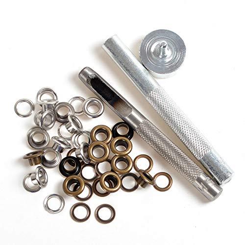 Ösestanzen, Werkzeug-Set + 20Paar Öse mit Unterlegscheibe, für Leder/Kleidung / Banner, 150#-4mm