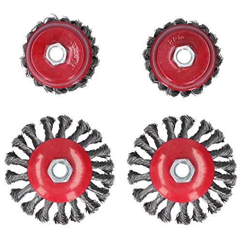 4 Uds rueda de alambre de acero pulido herramienta de desbarbado tipo de disco cepillo de alambre broca accesorios de amoladora angular con rosca M14