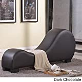 Oliver & James Soulages Faux Leather Yoga Chair Stretch Chaise Brown