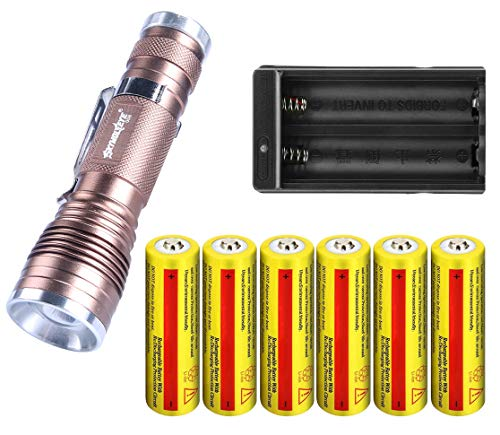 Handheld Flashlights Mini LED 18650 Flashlight with Two Slot Charger and 6 pc 18650 Batteries Zoomable High Lumen Water Resistant 3 Light Modes for Hiking Camping Hunting fishing