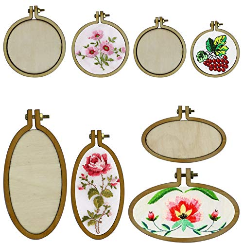 16 Sets Mini Ring Embroidery Hoop Wooden Small Cross Stitch Frames Mini Embroidery Circle Round, Oval Vertical, Oval Horizontal for DIY Pendants Crafts Frame Craft