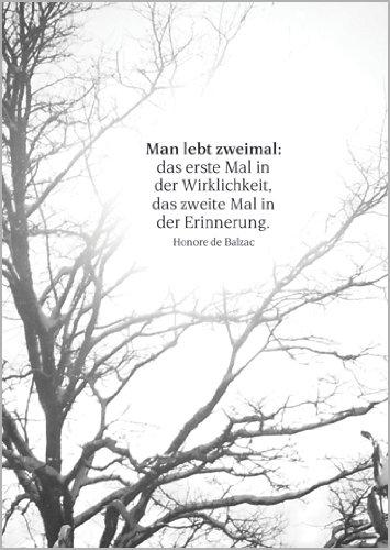 Helga Bühler Im5er Set: Gedankenvolle Trauerkarte mit Balzac Zitat als Beileids Spruch • beistehende Kondolenzkarten mit Umschlägen als Anteilnahme im Sterbefall, Todesfall, nach Beerdigung