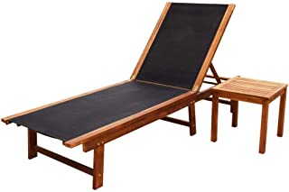 Unfade Memory Outdoor Chaise Sun Lounger Solid Acacia Wood and Textilene for Patio Graden and Swimming Pool (with Small Table)
