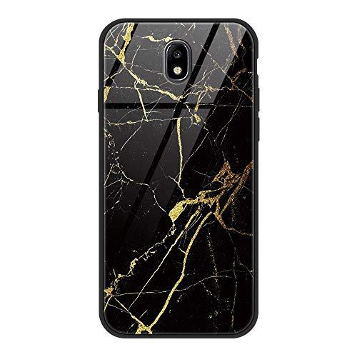ZhuoFan Funda Samsung Galaxy J7 2017, Cárcasa Silicona 3D Cristal Templado con Dibujos Design Antigolpes de Protector Bumper Case Cover Piel Fundas para Movil Samsung GalaxyJ7, Mármol Negro