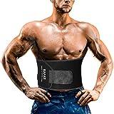 Waist Trainer for Women and Men, Powerful Sticker, Neoprene Workout Sweat Belt (Black, M: 8' x 40')