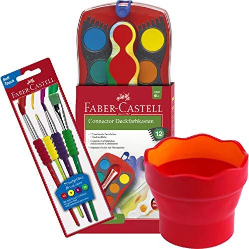 Faber-Castell 125030 - Farbkasten Connector mit 12 Farben, inklusive Deckweiß (3, Komplett-Set Mädchen)