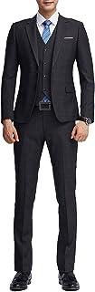 AOWOFS スリムスーツ メンズスーツ ビジネス スタイリッシュスーツ パーティー 二次会 チェック 格子柄 濃紺 ネイビー エグゼクティブスーツ スリム 細身 スリーピーススーツ おしゃれスーツ