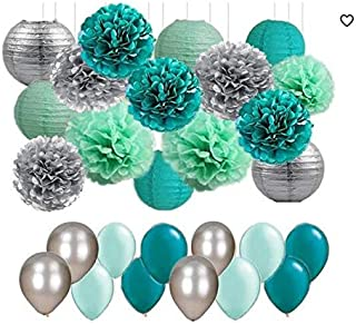 Mermaid Birthday Party Decorations Supplies 45pcs/Mint Green Silver Teal Tissue Paper Pom Poms Lanterns Paper Honeycomb Balls and Balloons Wedding Bridal Shower Birthday Decorations