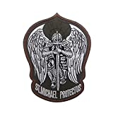 St.Saint Michael Protect Us Modern Morale Embroidered Patch Tactical Military Army Operator Patches Applique for Coat Jacket Gear Cap Hat Backpack (Army Green)