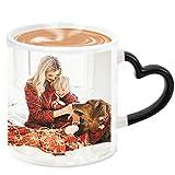 Magic Custom Photo Color Changing Coffee Mug Personalized Ceramic Hot Heat Sensitive Teacup, Add Your Photo, Festival Gift, 11oz, Black