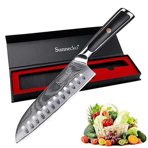 Santoku Cuchillo 18cm - Sunnecko Cuchillos de Cocina Japoneses Damasco Multifuncional para Sashimi o Vegetales