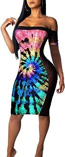 Ramoug Women Colorful Printed Sexy Off Shoulder Mesh See Through Midi Club Dress