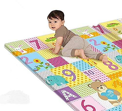 CHTH Tapis de Jeu pour bébé, Tapis de bébé de Gymnastique au Sol en Mousse Douce, Tapis de Jeu réversible Pliable Facile à Temps de Ventre de bébé, 70 x 39 x 0,4 Pouces (B)