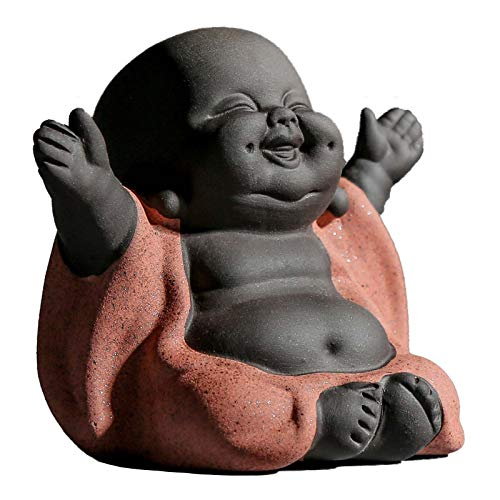 Carefree Fish Small Ceramic Laughing Buddha Statue Little Monk Figurine Baby Buda Home Decor Desk Decoration