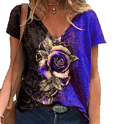 SLYZ 2021 Blusa De Camiseta Holgada De Manga Corta con Estampado De Rosas En 3D con Cuello En V para Mujer De Verano 2021