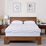 Jvin Fab Double Layer Down & Feather Mattress Topper King Size 72x78 Inch Comfortable & Very Soft 5...