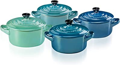 Le Creuset Mini Cocottes Set of 4, Stoneware, 8 oz, Metallics Blues
