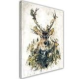 Feeby. Wandbild - 1 Teilig - 50x70 cm, Leinwand Bild Leinwandbilder Bilder Wandbilder Kunstdruck, Barrett Biggers - Natur Hirsch Brown