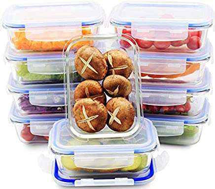 Glass Meal Prep Containers | 10 SET VALUE PACK | Glass Food Storage Containers with Lids | Lunch Containers | BPA Free, Leak Proof, Oven Safe, Microwave Safe, Freezer Safe, Dishwasher Safe (22 ounce)