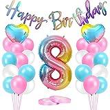 Globos de 8 cumpleaños rosa de AivaToba, decoración de cumpleaños para niñas de 8 años, decoración de 8 años, guirnalda de Happy Birthday gigante, 8 rosas, números, 8 decoraciones de cumpleaños