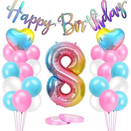 AivaToba - Palloncini per 8 anni, 8 anni, decorazione per compleanno, per ragazze, 8 anni, 8 pezzi, colore: rosa