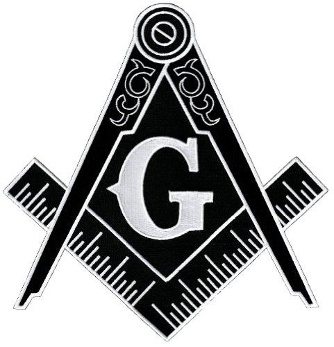 Masonic Logo Large Black Patch Embroidered Iron-On Freemason Emblem Square Compass