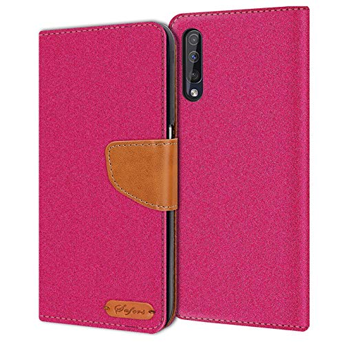 Verco Galaxy A50 Hülle, Samsung A30s Hülle Schutzhülle für Samsung Galaxy A50 Tasche Denim Textil Book Hülle Flip Hülle - Klapphülle Pink