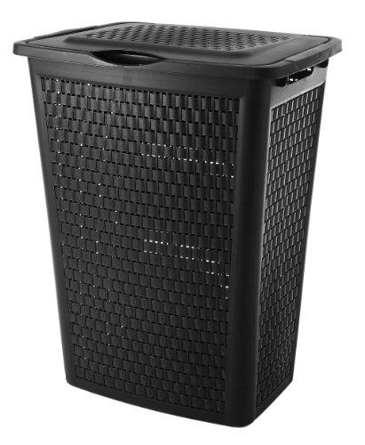 Sundis Country Wäschesammler 50 l in Rattan-Optik, Kunststoff (PP), schwarz, 50 Liter (45 x 33,8 x 57,5 cm)