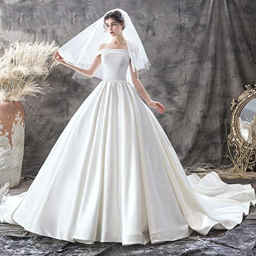 IOIOA Hochzeitskleid, Hochzeit Braut Satin One-Shoulder Princess Dress Minimalist - Weiß,XL