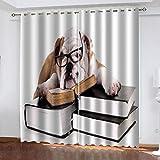 WLHRJ Cortina Opaca en Cocina el Salon dormitorios habitación Infantil 3D Impresión Digital Ojales Cortinas termica - 234x138 cm - Patrón de Libro de Perro Animal