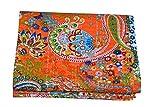 Kiara Indische handgemachte Quilts Baumwolle Blumendruck wendbar Kantha Paisley Muster Tagesdecken und Decken Stich Überwurf Twin Size/Queen Size (Fruit Orange, Twin)