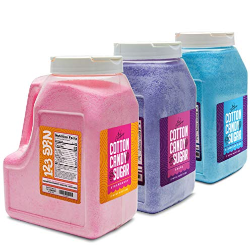 The Candery Cotton Candy Floss Sugar 6lbs 96oz jars- 3 Pack Strawberry, Raspberry Blue and Grape