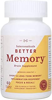 Interceuticals Better Memory - Theracurmin Curcumin 90 mg - Clinically Proven Dose, Improves Focus, Recall, Memory, and Mood* - High Absorption Turmeric Extract* (1 Bottle)